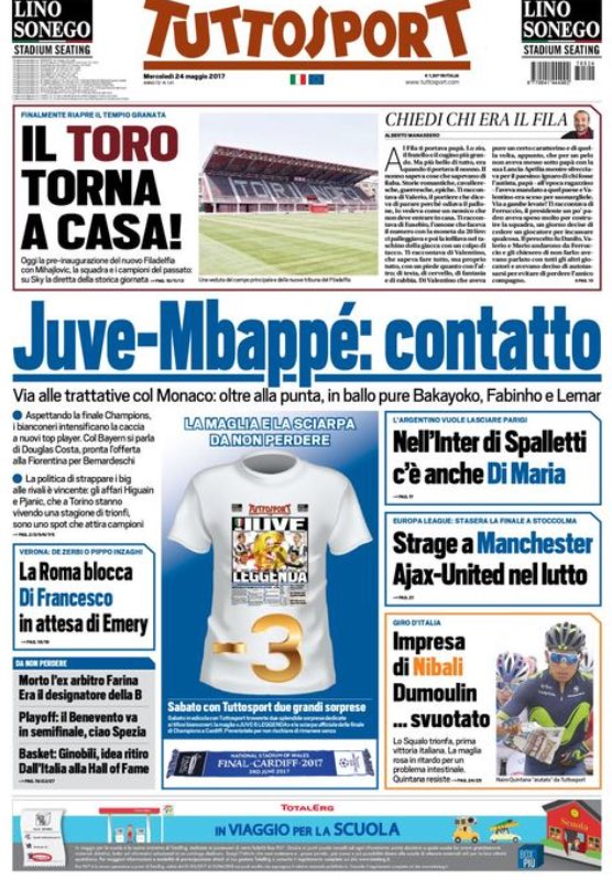 Front page of #TS reports that #Juve have made a contact with #ASM for #Mbappé. They are negotiating with #Monaco for @KMbappe   []pic.twitter.com/lGxNFJ3pXk
