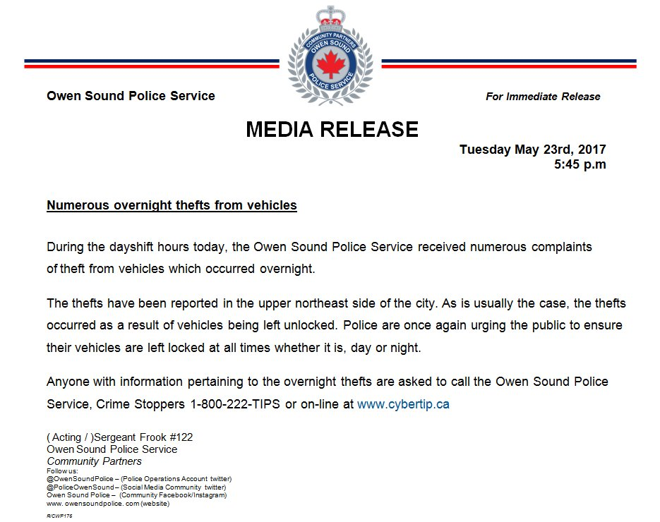 #MEDIARELEASE Theft From Vehicles in #OwenSound. LOCK IT UP ! <br>http://pic.twitter.com/F8jCWXapZL