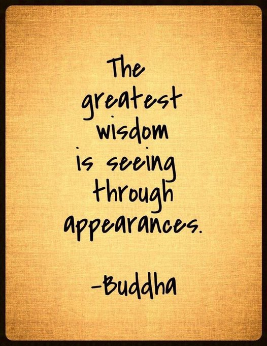 The #greatest #wisdom is #seeing through #appearances.  via @ritahealer  #ThinkBIGSundayWithMarsha #InspireThemRetweetTuesday #IQRTG<br>http://pic.twitter.com/PF2Q9c1StO