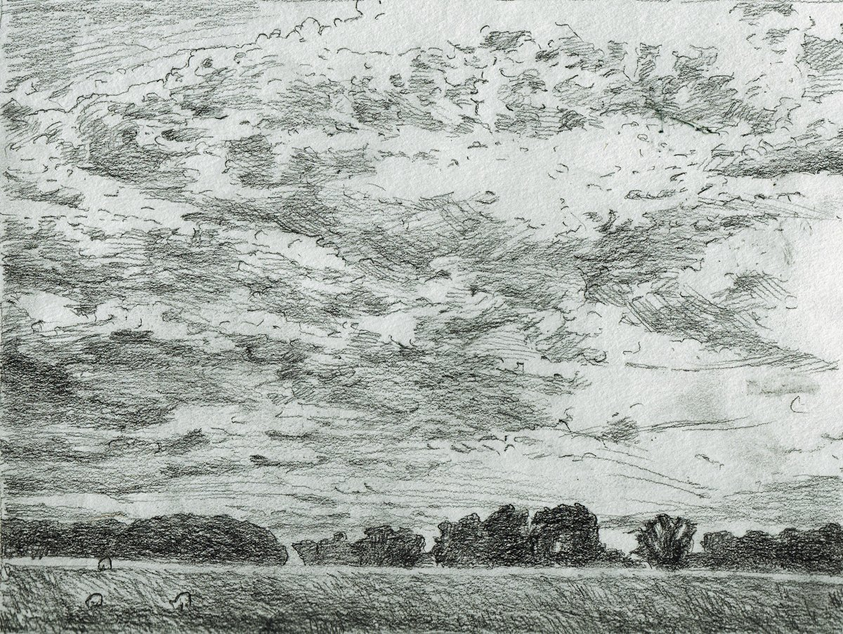 Scottish Sky, Sheep in Field Sketch  http:// ow.ly/blzH308aZqn  &nbsp;   #graphite #pencil #drawing #landscape #art<br>http://pic.twitter.com/6G9MB82UKp