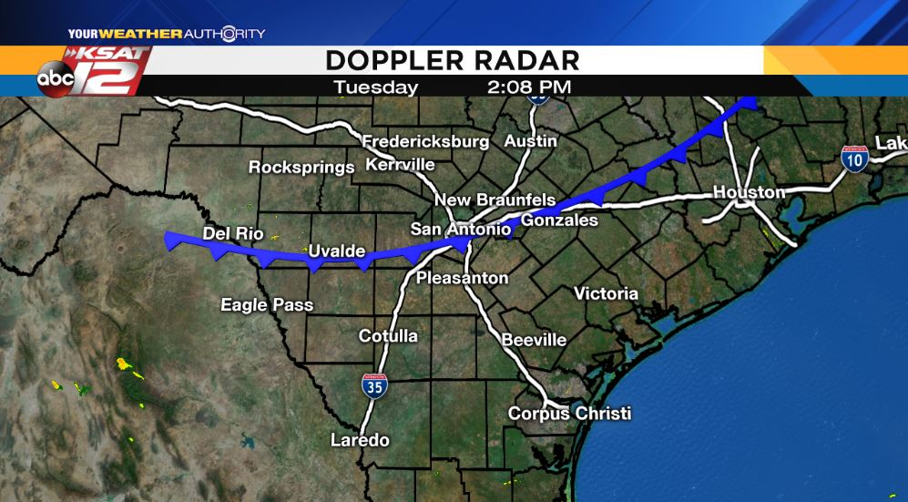 2:08 p.m. Tuesday  It&#39;s cold front daaaaay!  Still looking at the chance for some storms south of #SA with hail, damaging winds. #txwx<br>http://pic.twitter.com/3j1xUHrYZS