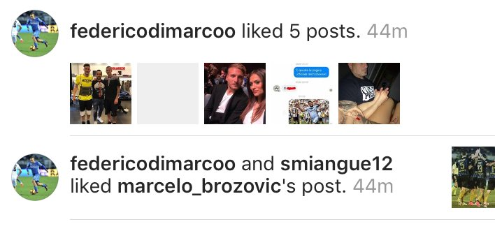 After #Inter&#39;s win vs #Lazio, #DiMarco &amp; #Miangue liked a photo posted by #Brozovic on instagram related to the game. #FCIM #ForzaInter <br>http://pic.twitter.com/xaWbjDYBt8