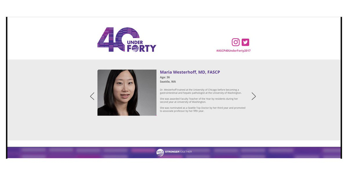 Congratulations to my former @ASCP_Chicago #PRISE committee colleague, Dr. Maria Westerhoff! #ASCP40underForty2017    https://www. ascp.org/content/functi onal-nav/40-under-forty/honorees#maria &nbsp; … <br>http://pic.twitter.com/a7qDeq7hJ3