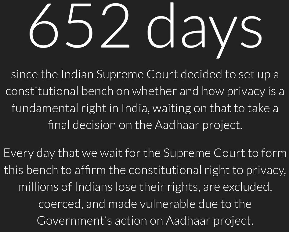 Day 652 : Honorouble CJI, Please form the constitutional bench to hear #Aadhaar privacy case soon. #AadhaarBench #NationalSecurity #Control <br>http://pic.twitter.com/1DsJdJBwJw