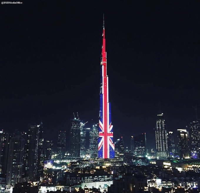 Dubai's Burj Khalifa is lit in Union Jack colors tonight in solidarity with the UK and in honor of the Manchester attack victims.