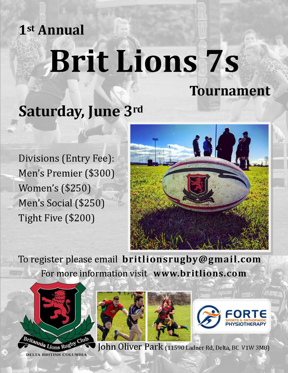 Less than 2 weeks til our 7s tourney! Get ur teams in fast &amp; Come work on your pre-summer rugby tan lines! #rugby7s #rugbysevens #bcrugby<br>http://pic.twitter.com/o1TRvh6yVW &ndash; à John Oliver Park