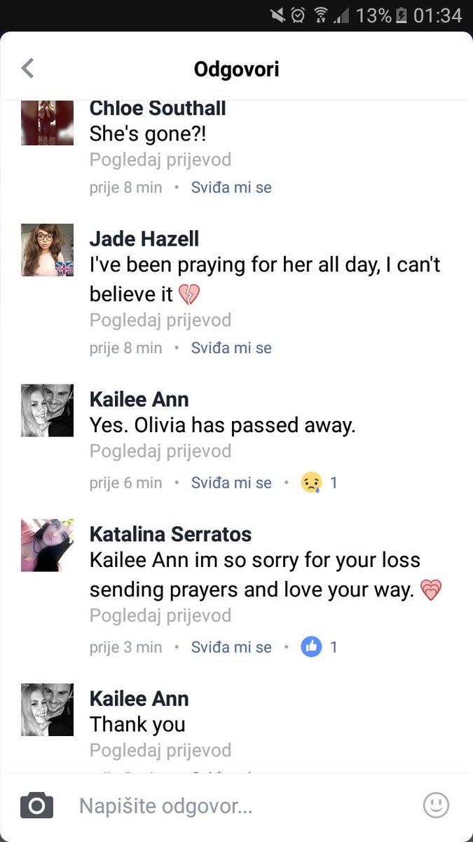 Olivia's cousin confirmed her death. Rip...