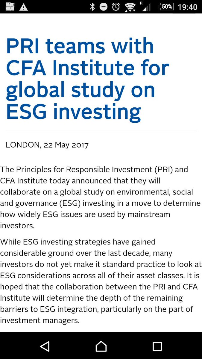 Announced today at #cfaedge  @PRI_News and @CFAinstitute team up to deliver global study on #Esg  http:// tinyurl.com/l39zktr  &nbsp;  <br>http://pic.twitter.com/Ug37lGzIWk