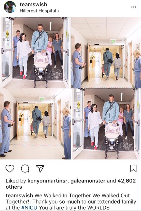 Wonderful news - JR Smith and his wife were able to take home their daughter today.  (Via JR's Instagram)