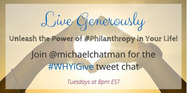 Join the giving movement! Answer the question: #WHYiGive with #philanthropy influencer @michaelchatman, Tuesday nights, 8pm-eastern.<br>http://pic.twitter.com/k1xKBWCnng