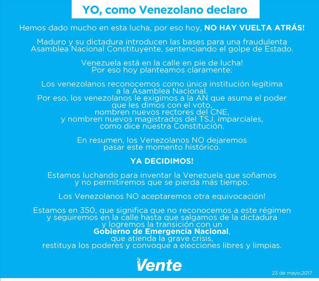 #Venezuela Opposition party @VenteVenezuela states it is in civil disobedience according to article #350 of the constitution.<br>http://pic.twitter.com/nUuvQaBXQO