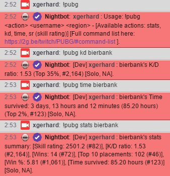PUBATTLEGROUNDS Streamer On Twitch Check Your Game Stats In Chat With Nightbotapp Data By Trackernetwork