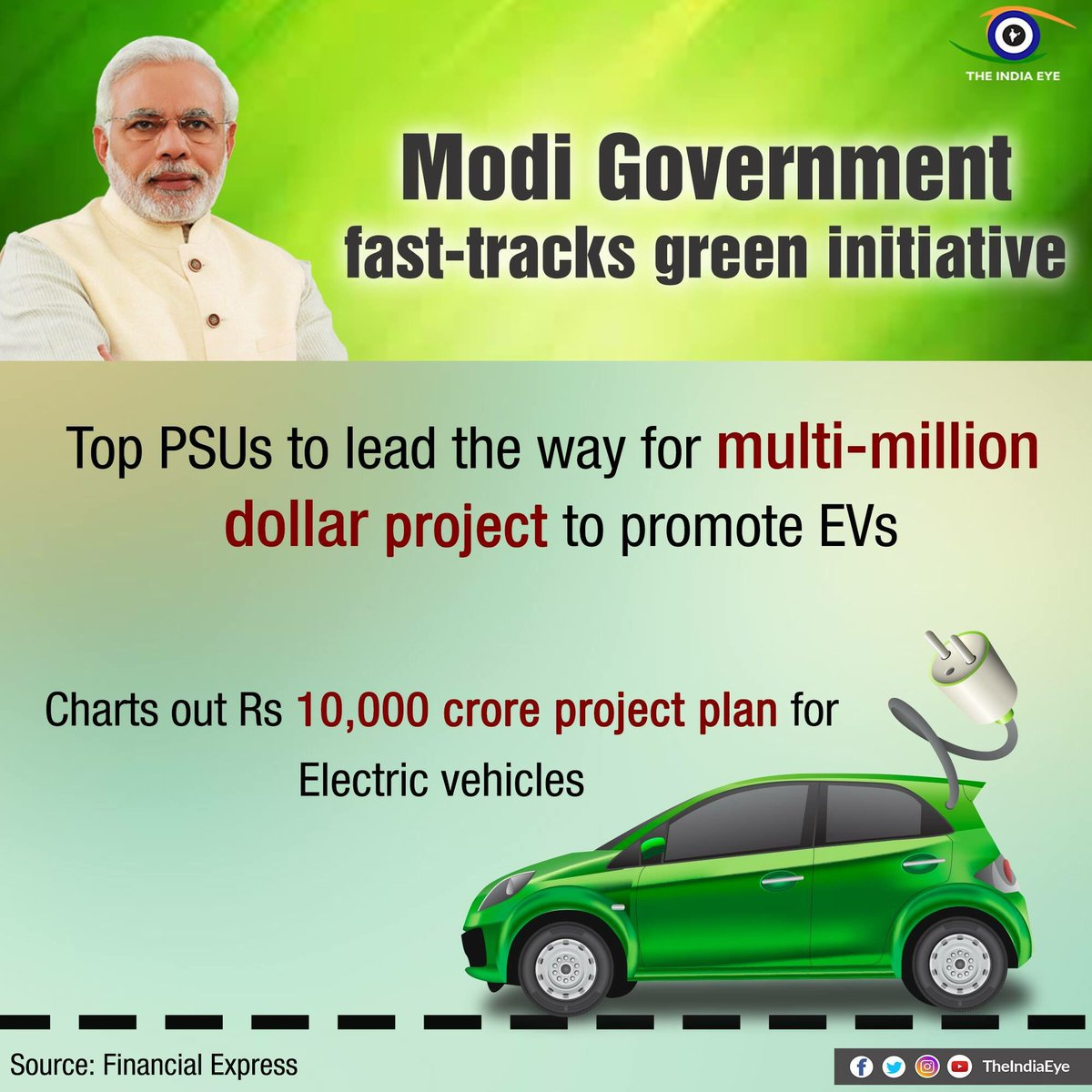 Modi Govt. fast-tracks green initiative #D dream Electronic Vehicle will soon become reality to crib Pollution. #TransformingIndia<br>http://pic.twitter.com/jZJfls0m7B