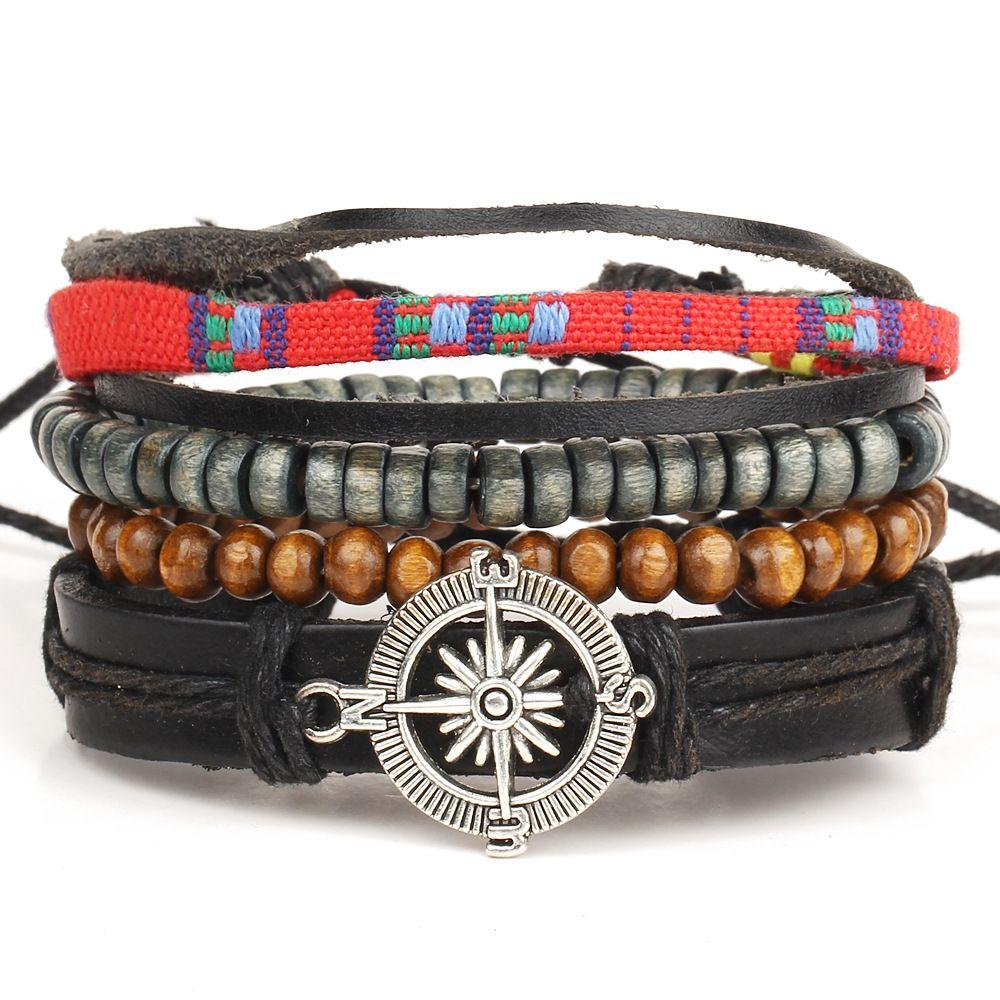 HOT 4pcs 1 Set Punk Genuine Wrap Feather Leather Bracelets For Men &amp; Women #Accessories  http:// buff.ly/2r8oPQh  &nbsp;  <br>http://pic.twitter.com/6q5tsjMIhD