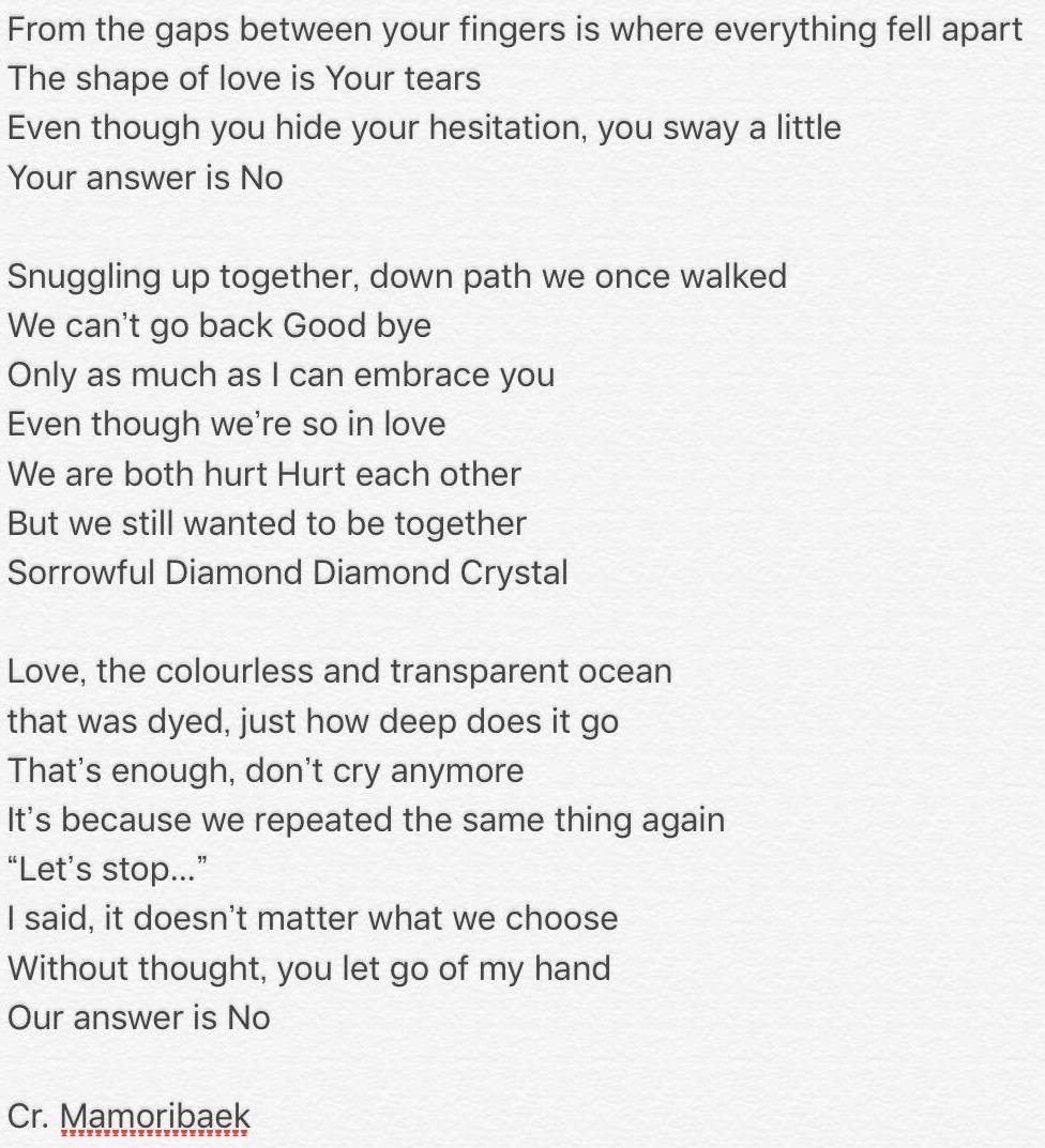[英訳] English translation for Diamond Crystal by #EXO-CBX! Such a sad song, but very beautiful #cbx <br>http://pic.twitter.com/DIE1EkQII2