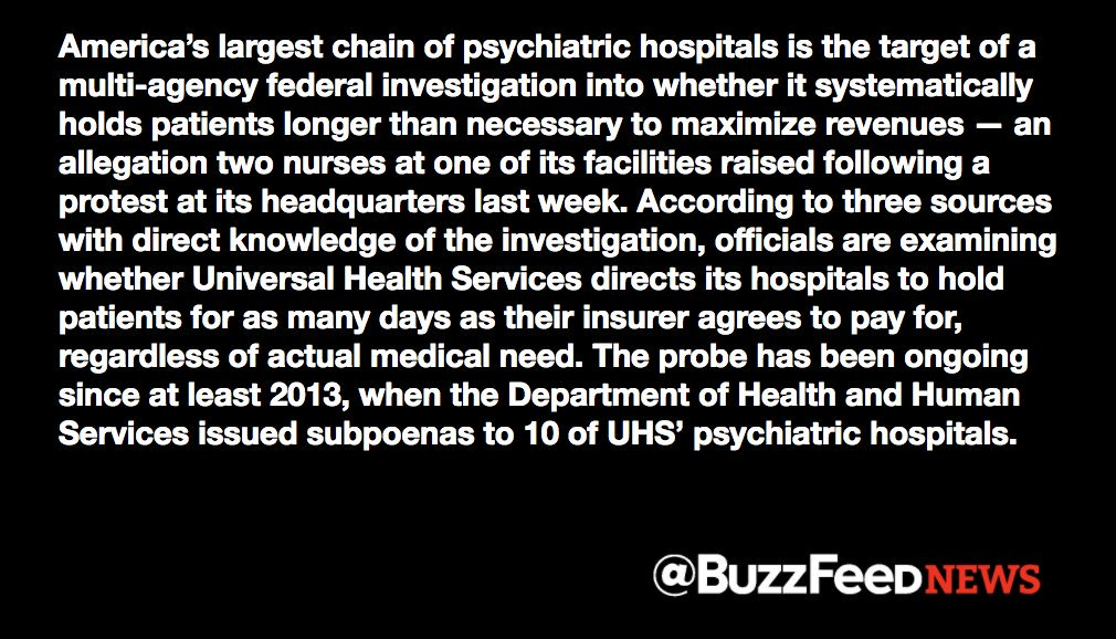 The FBI and Defense Department are investigating the biggest US psychiatric chain  https://t.co/GZiWKI4PwO