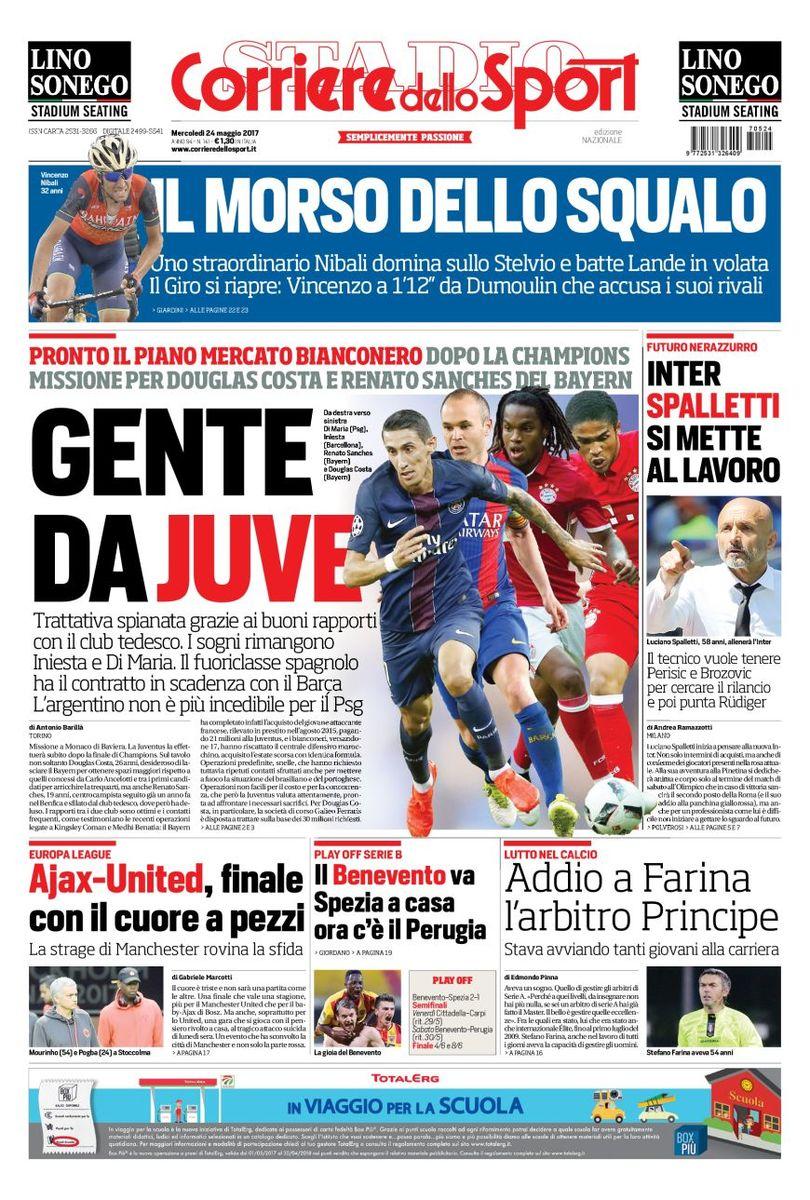 #Juventus : le #Corriere confirme les pistes #DiMaria (#PSG), #Iniesta (#Barca), Douglas #Costa et #Renato Sanches (#Bayern)pic.twitter.com/jAn7ynvGgI