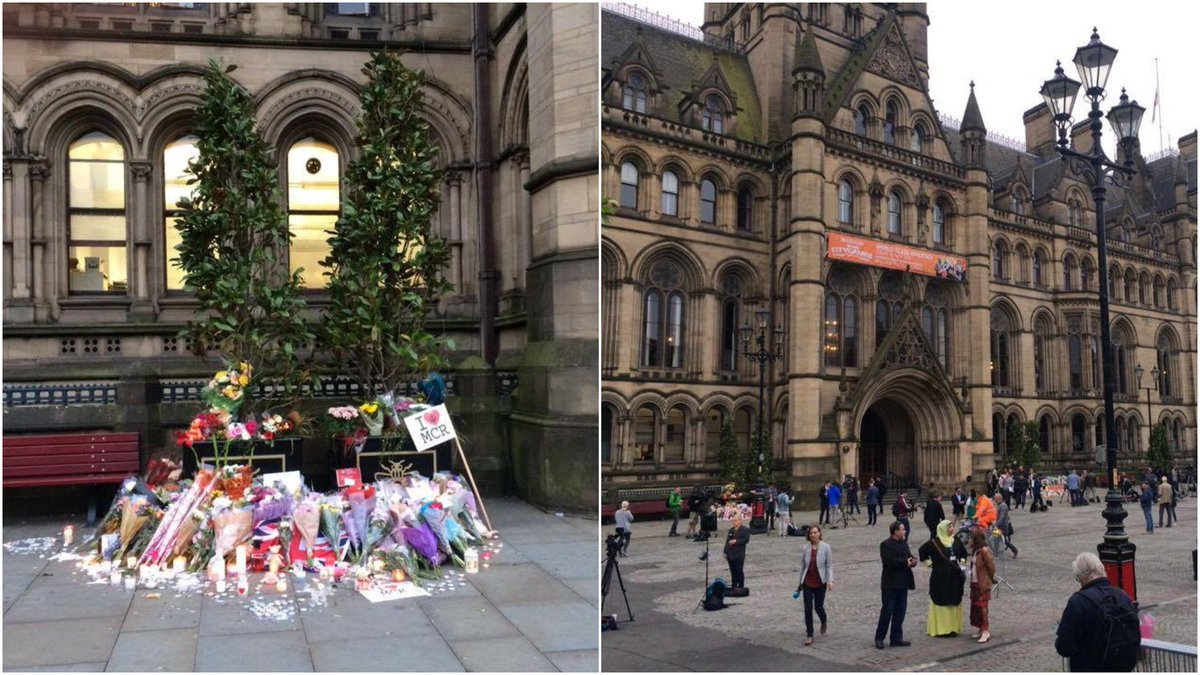 The scene at Albert Square in Manchester this morning #Manchesterattac...