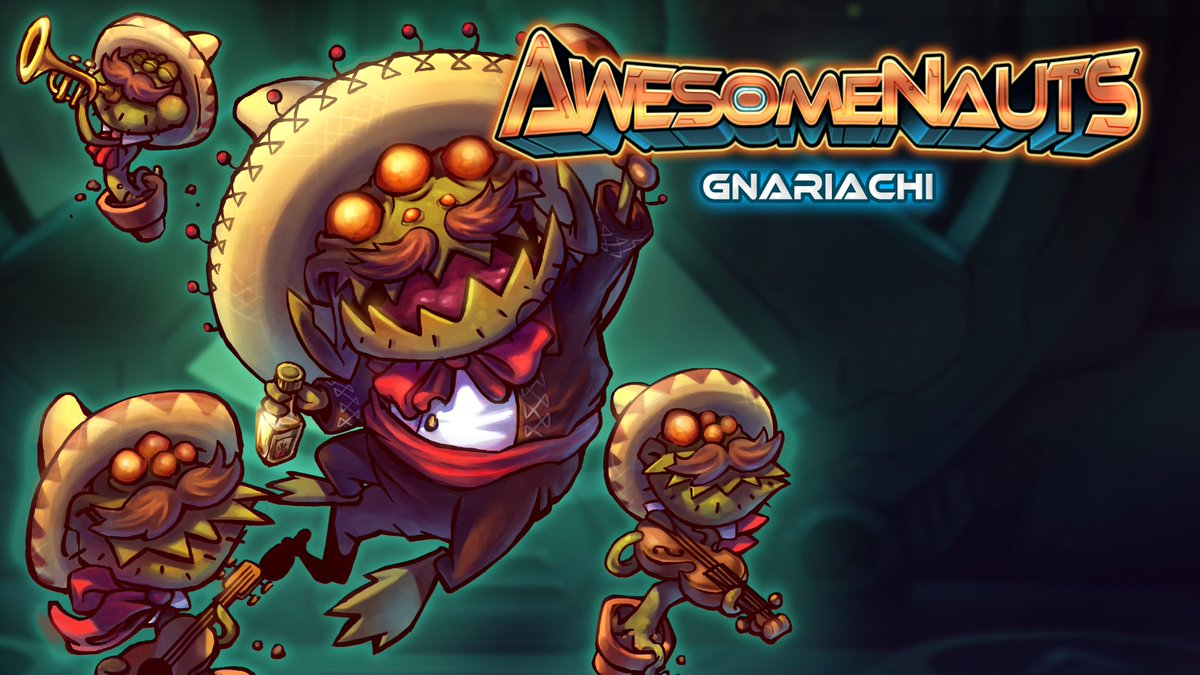 Awesomenauts is going free to play on Steam in 9 hours! RT to have a shot at winning a Gnariachi skin! https://t.co/cqLVZA4hPn