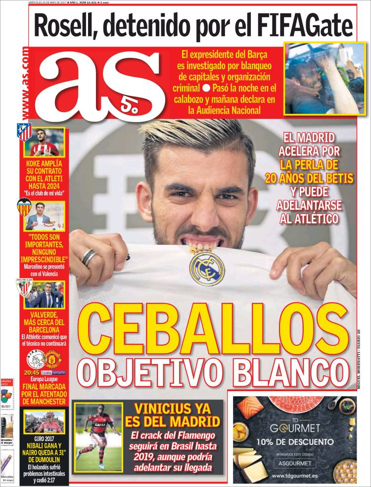 AS report #Betis playmaker Dani Ceballos is now wanted by #RealMadrid as well as #Atletico  http://www. football-espana.net/todayspapers/6 4245 &nbsp; … <br>http://pic.twitter.com/GL9Ltcgp7G