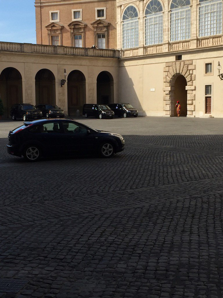 Pope Francis rolls out in a blue Ford Focus
