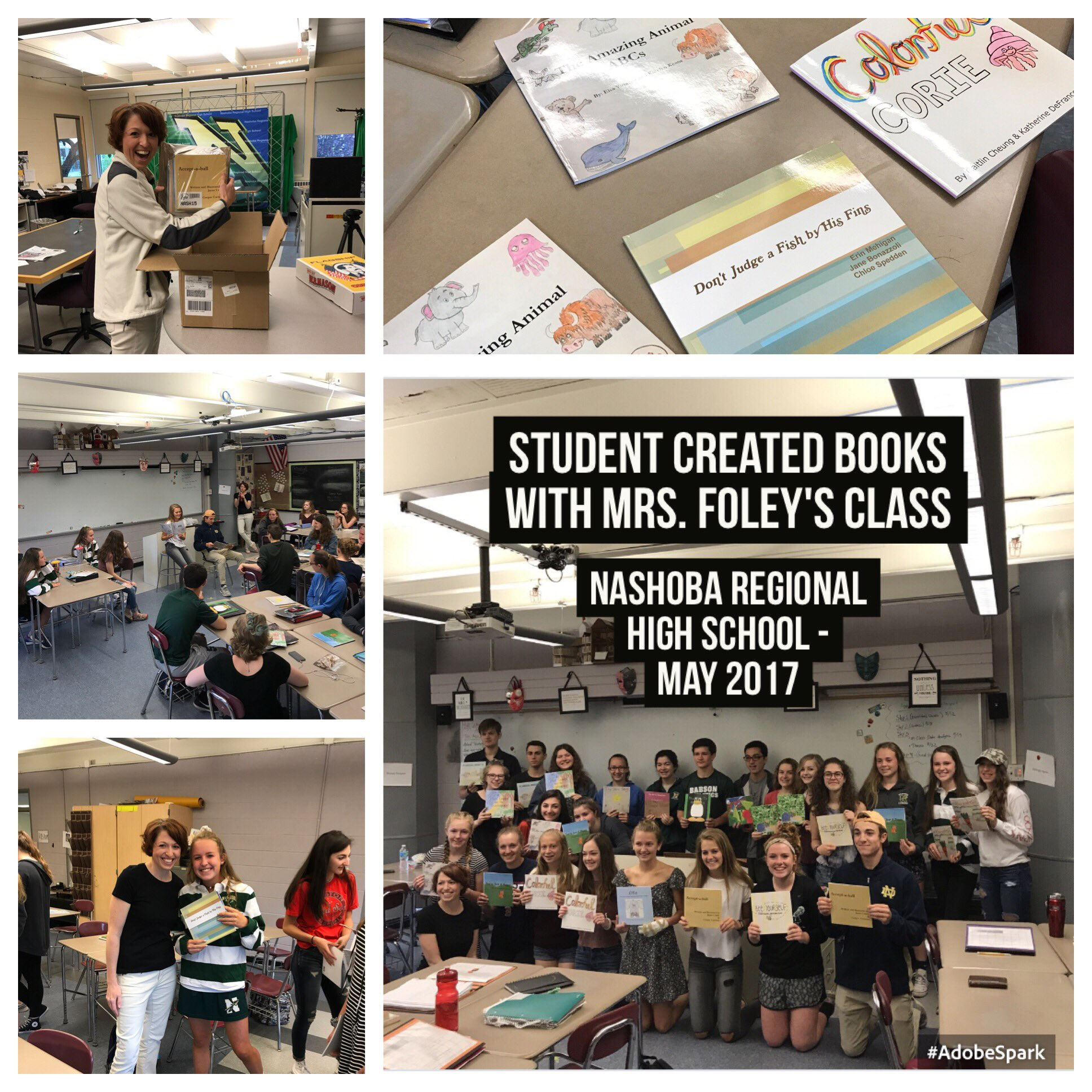 Students published books have arrived! Students reading their books to each other! @FoleyProcko love the creativity #PBL https://t.co/Cb7DYKgjDN