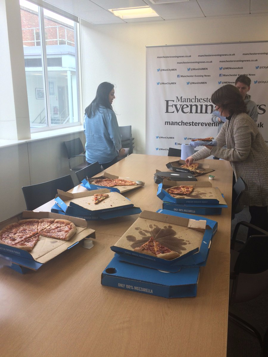 The @BostonGlobe sent us pizza to keep us going. Thanks friends.
