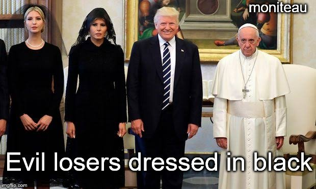 &quot;Pope Francis&quot; meets evil  #resist #resistance #TheResistance #indivisible #UniteBlue #GOP #DontheCon #MAGA #Trump #FoxNews #Trump45<br>http://pic.twitter.com/4zb4IFeCpz