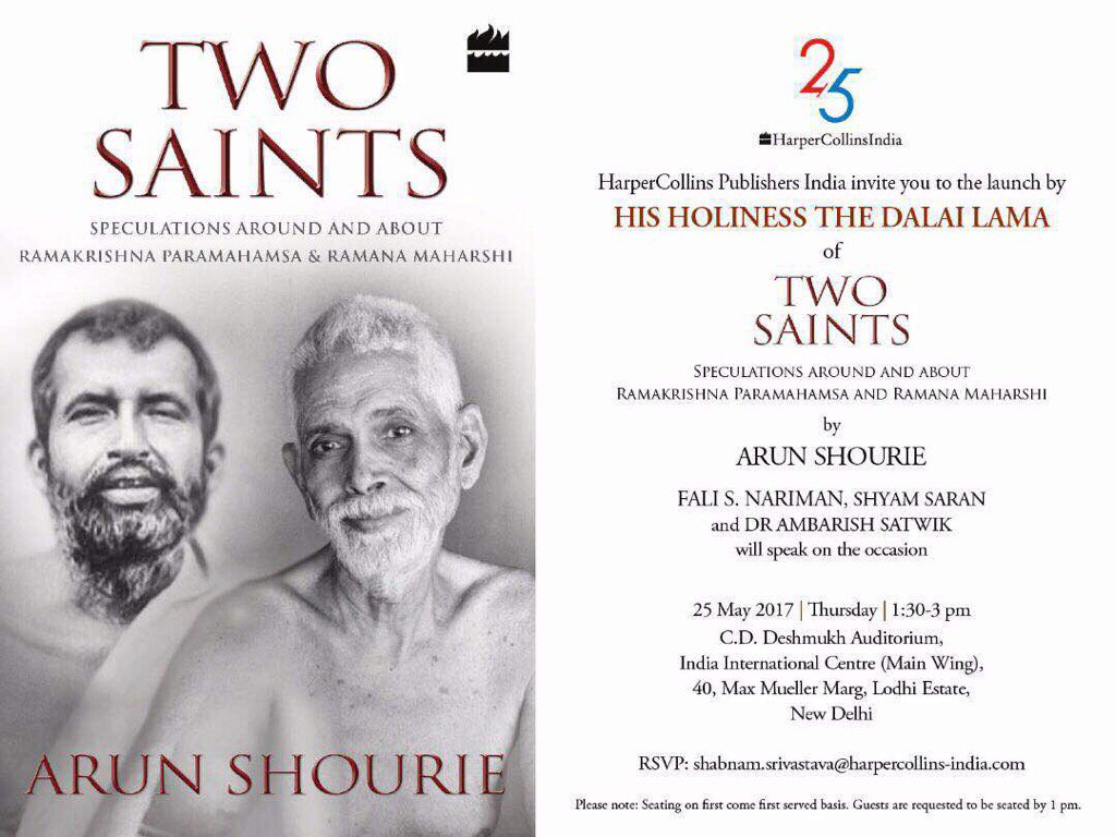 Arun Shourie\'s new book -Two Saints - on Ramakrishna and Ramanashree will be released tomorrow