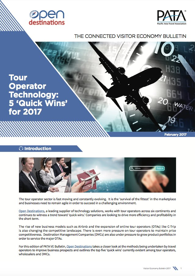 .@OpenDest outlines 5 quick wins evident among tour operators, wholesalers and DMCs in PATA #VEBulletin: http://bit.ly/VEFeb2017 pic.twitter.com/0k1ycYTcXj