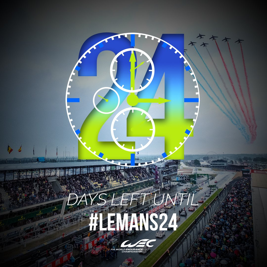 24 days later, we will kick off 24 hours of racing!  #LeMans24  #WEC h...