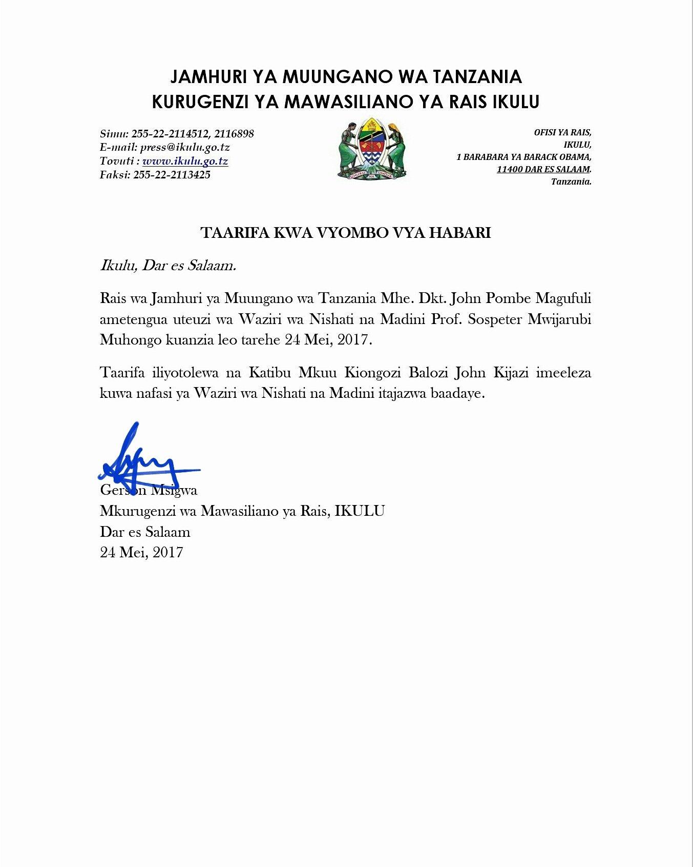 Breaking NEWS= Rais Magufuli atengua uteuzi wa Waziri wa Nishati na Madini Prof. Sospeter Mwijarubi Muhongo