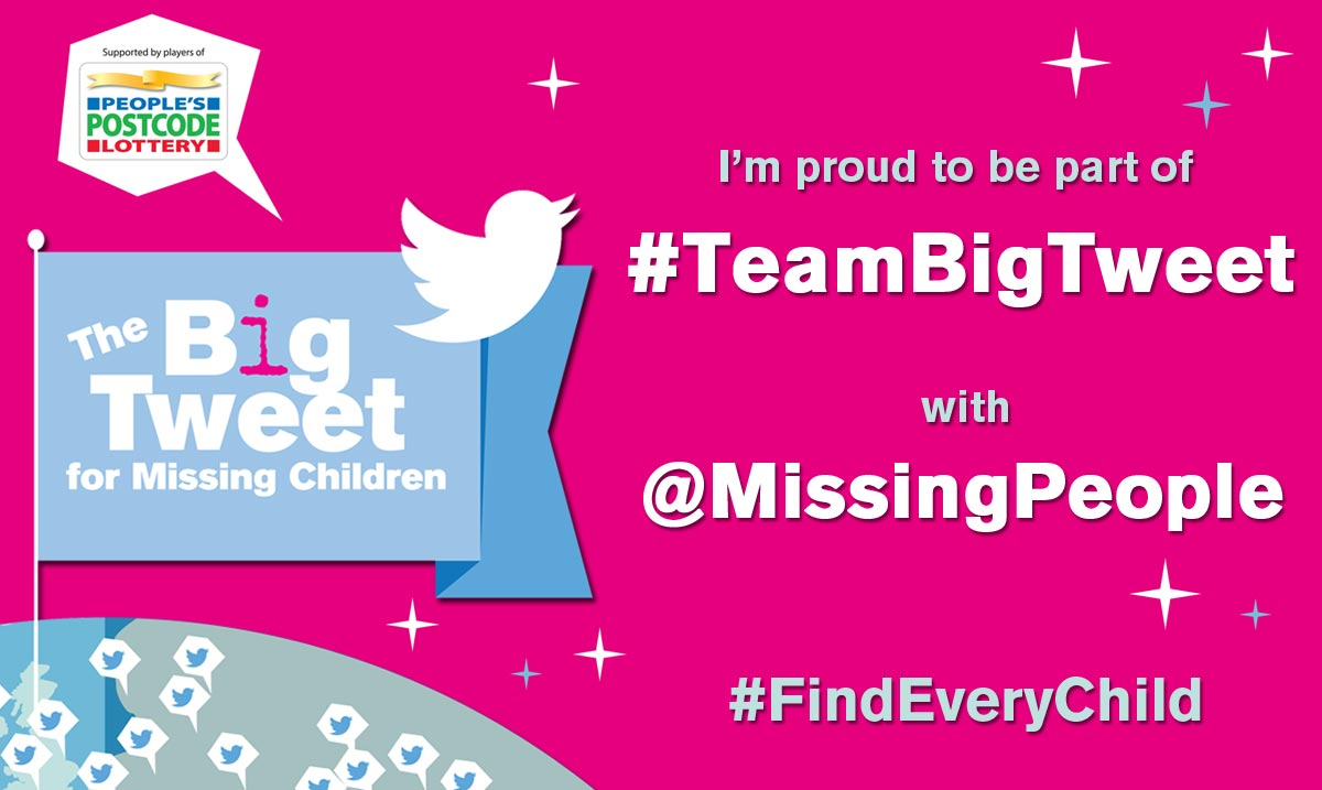 Follow @MissingPeople and share as many appeals for missing children as you can today #TeamBigTweet #FindEveryChild https://t.co/Cd5tbgcjoT