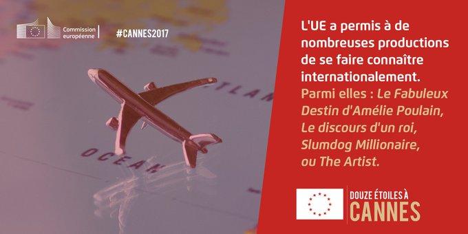 En soutenant le cinéma européen, l'UE contribue au rayonnement culturel de l'Europe ! https://t.co/UgnjEJXzWt #Cannes2017