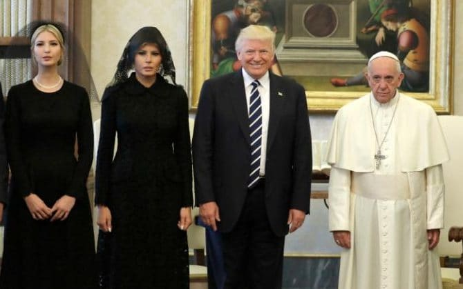 Apparently Melania and Ivanka were forced to wear black abaya and veil in the Vatican (not Saudi Arabia)