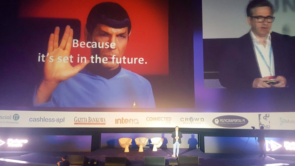&quot;Why we don&#39;t have banks at @StarTrek? Because it&#39;s set in the #future&quot; keynote by @SpirosMargaris No.1 #Fintech influencer at @ftcongress<br>http://pic.twitter.com/JVZwWHhAjU
