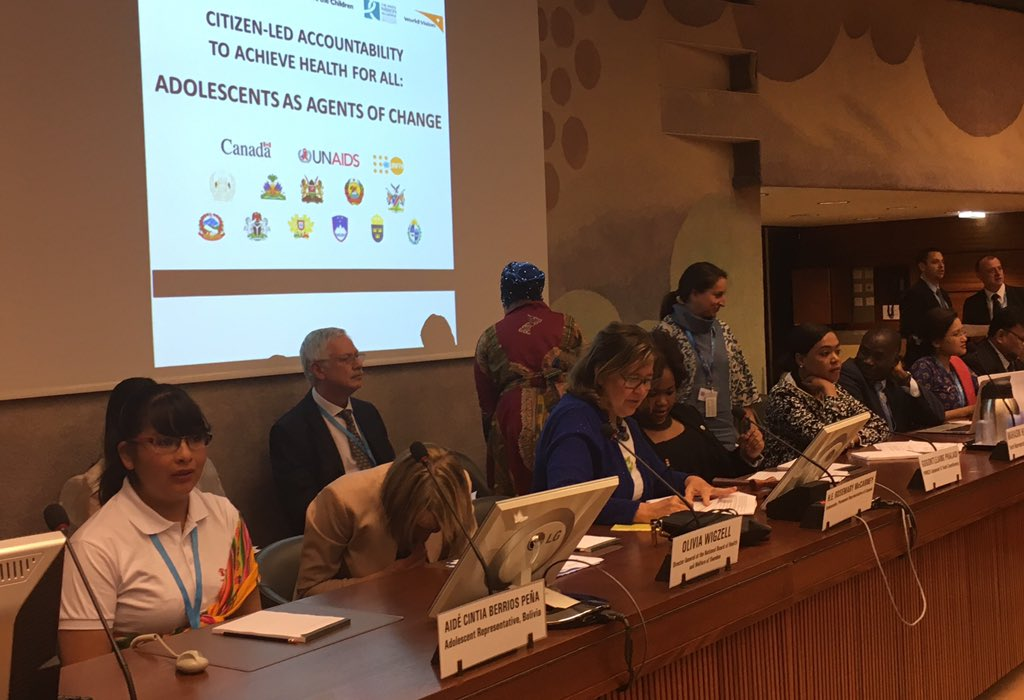 Main event at #WHA70! 1.2 Bil adolescents in the world - agents of change to achieve health for all #CitizensVoices #globalhealth #future <br>http://pic.twitter.com/jJ8381XxWh