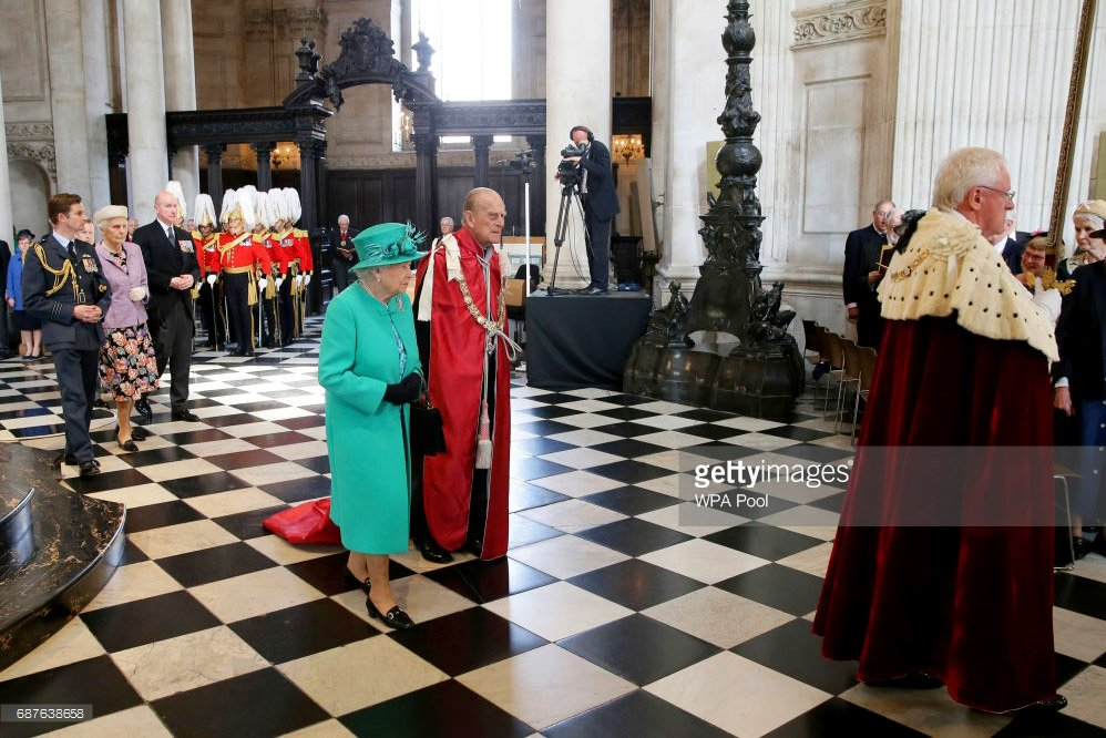Queen Elizabeth II & Prince Philip attend a service at St Paul's Cathedral to mark the 100th anniversary of the Order of the British Empire