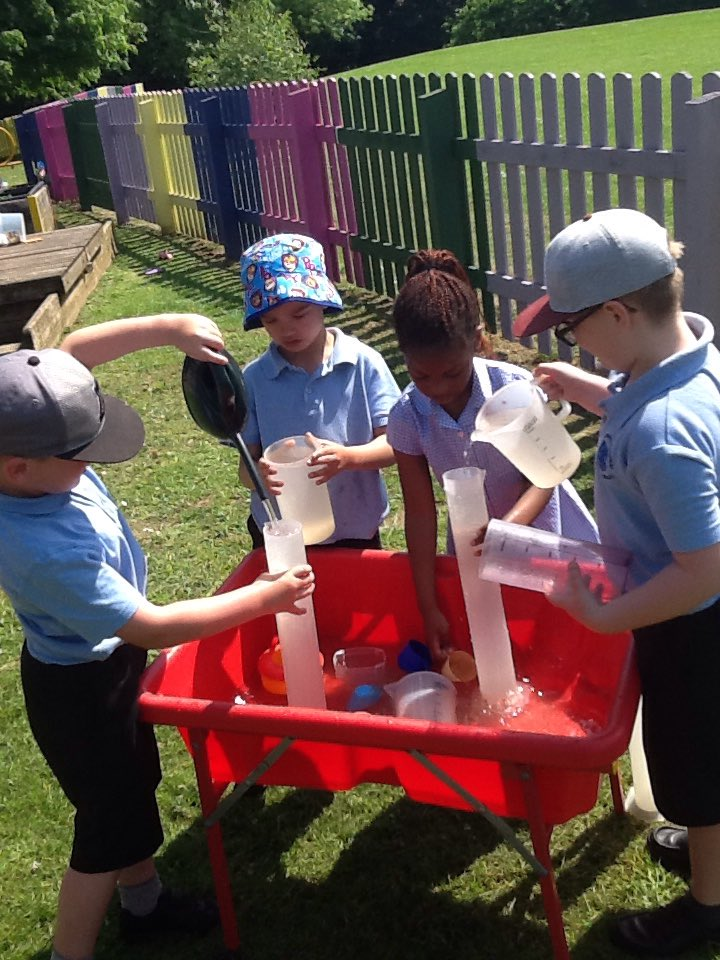 Year One mathematics outside. What does a litre look like?