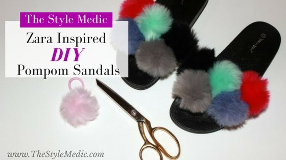 The Look for Less: DIY Zara Inspired Pompom Sandal