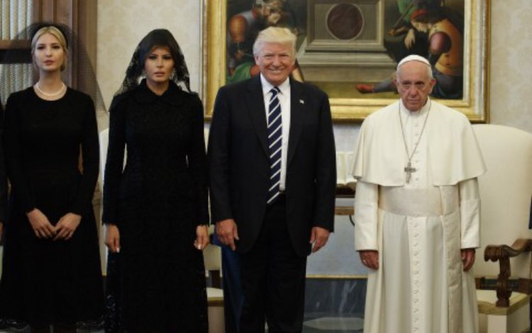 TRUMP: What's that music you're playing here?  POPE: Hm? TRUMP: That music, it's great JARED [quietly]: It's the CURB YOUR ENTHUSIASM theme