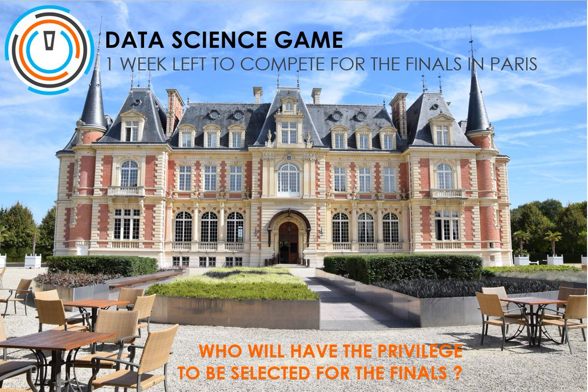 Let&#39;s brace yourself and #work hard on #DSG17, only 1 #week left to be #selected for the #finals in #Paris  https:// inclass.kaggle.com/c/dsg17-online -phase/leaderboard &nbsp; …  #data<br>http://pic.twitter.com/TbsaBftNs2