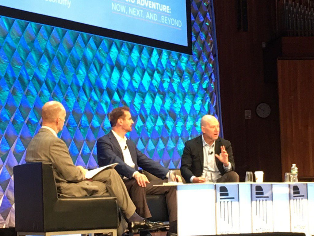 Legends #Erik Brynjolfsson &amp; #AndrewMcAfee - co directors of the #MIT Initiative of the #Digital Economy - at #MITCIO<br>http://pic.twitter.com/x7AbrcO5Wy