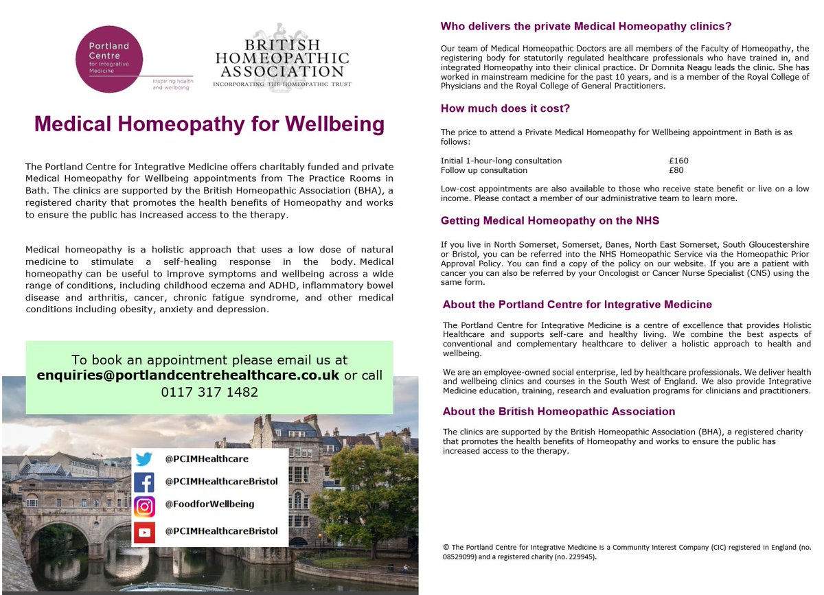 We&#39;re launching a NEW #Bath #Homeopathy clinic in June wt @bhahomeopathy   http:// portlandcentrehealthcare.co.uk/service/homeop athy-bath/ &nbsp; …  #healthcare @fohhomeopathy @ElizabethPCIM<br>http://pic.twitter.com/71XABAAT9w