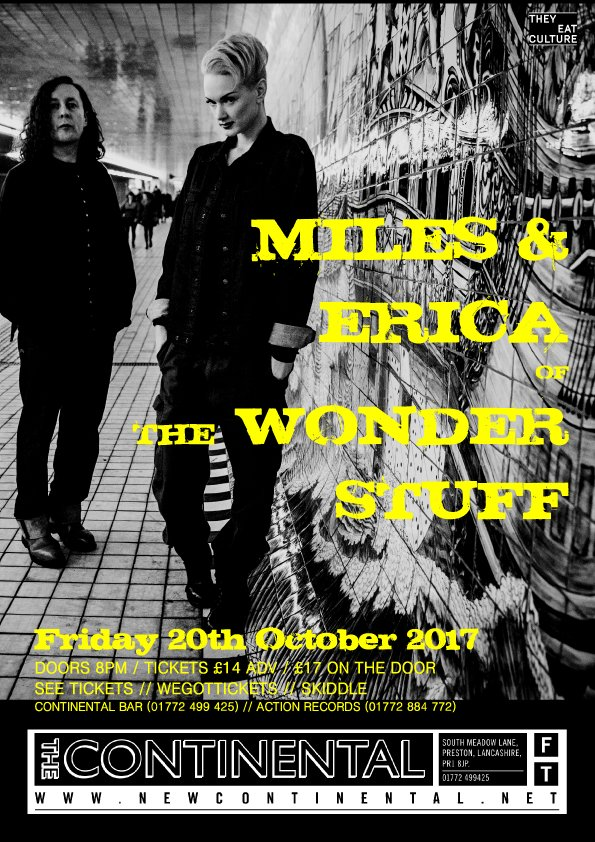 On Oct 20th we welcome @mileshuntTWS &amp; @EricaNockalls of #TheWonderStuff. Seated show - tix limited  http:// newcontinental.net/whats-on/event /miles-erica-wonder-stuff &nbsp; …  #gigs #Preston<br>http://pic.twitter.com/5LtsyKZgdv
