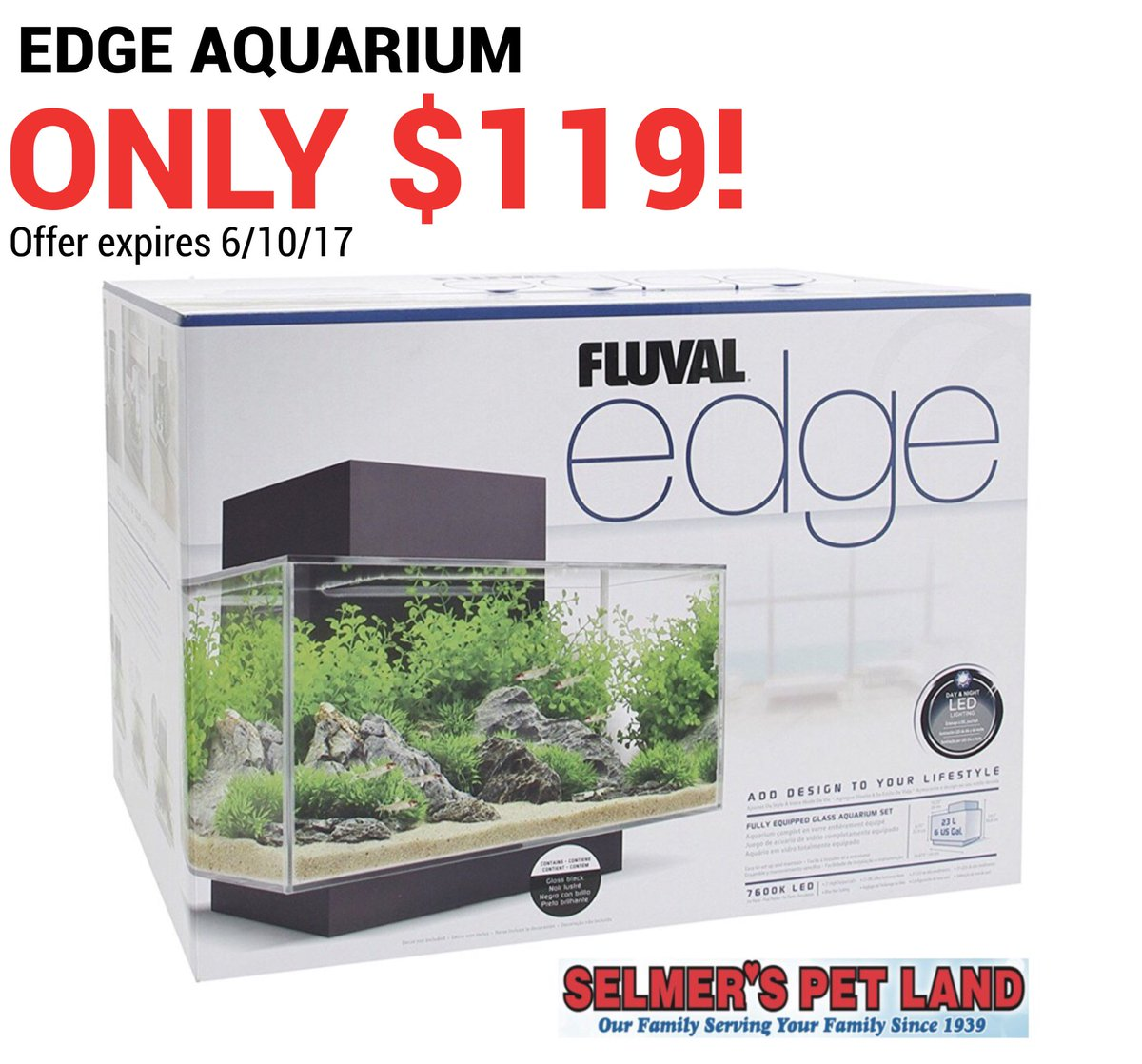 #EdgeAquarium just $119! #selmerspetland #selmers #huntington #huntingtonNY #pets #petshop #petstore #fluvaledgeaquarium #longisland<br>http://pic.twitter.com/LYjigWxV3k
