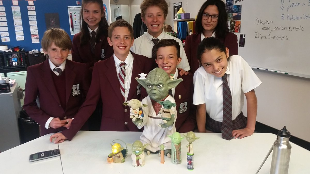 Yoda&#39;s help @rundleacademy grade 7 students learn about #mean #mean #mode. #statisticsrock<br>http://pic.twitter.com/f55mHs2amw