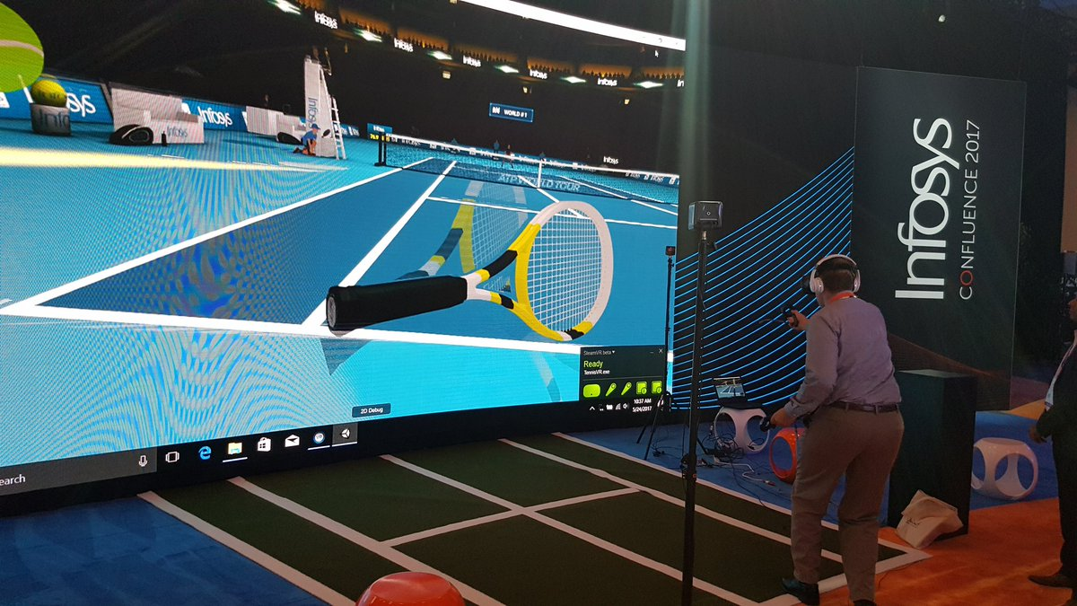 Virtual Reality tennis at @Infosys #InfosysConfluence.  @infosysdigital https://t.co/FIsYi4O32D