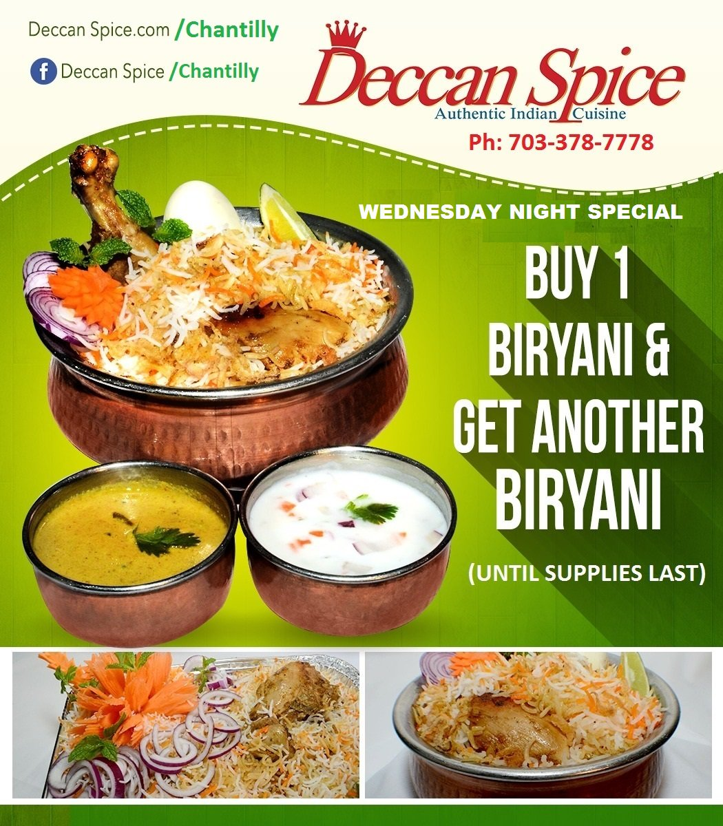 Deccan E Authentic Indian Restaurant On Twitter 1 Get Biryani Special Today Chantilly Va Call 703 378 7778