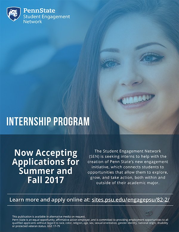 Want to help create the new student engagement initiative? Apply for the chance to intern with #SEN. @PennState411  http:// ow.ly/x7Z230b7AYr  &nbsp;  <br>http://pic.twitter.com/iYMzgr0Sjf